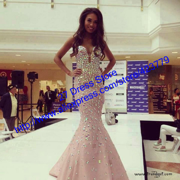 Aliexpress.com : Buy Fashion Sweetheart Crystal Beads Prom Dresses Floor Length Pink Mermaid Evening Dress 2014 Free Shipping from Reliable dress up time prom dresses suppliers on 27 Dress