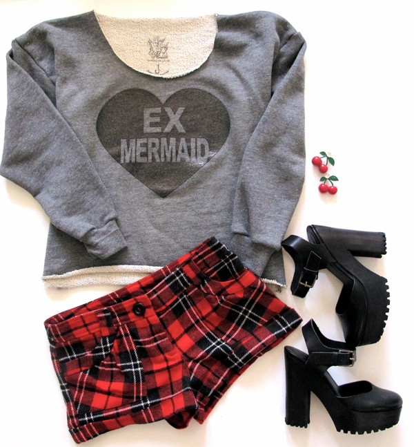 shirt sweatshirt grey heart glitter mermaid grunge tumblr ex mermaid soft grunge indie plaid cherry