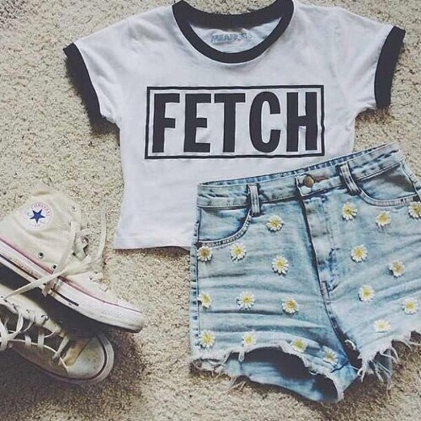 shirt black white crop tops fetch shorts t-shirt