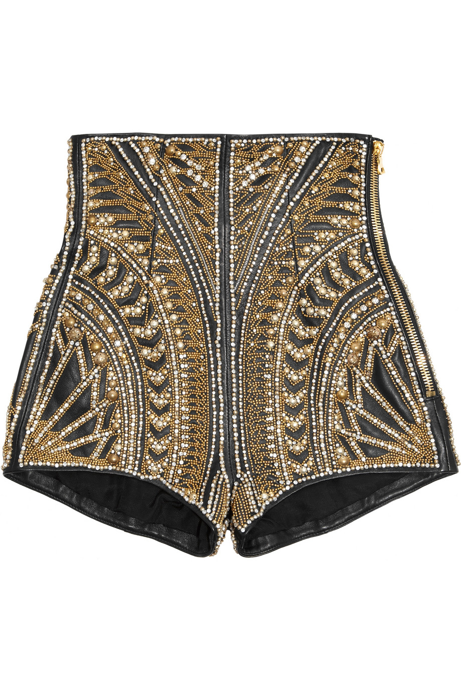 Embellished leather shorts | Balmain | 80% off | THE OUTNET