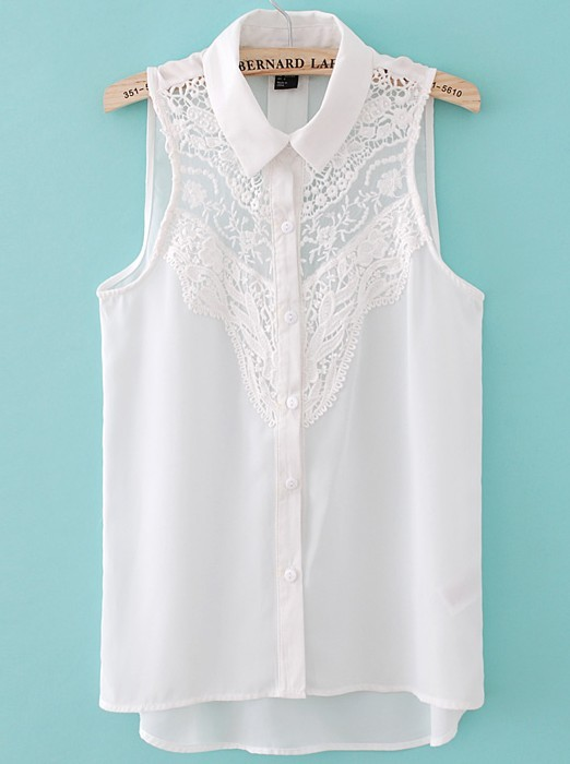 White Sleeveless Crochet Lace Front Shirt - Sheinside.com