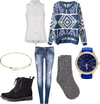 sweater blue white shirt boots