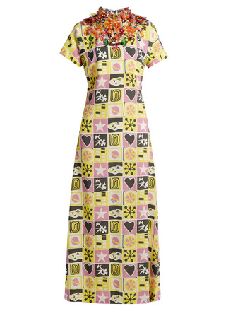 gown short embellished print yellow dress