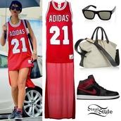 rihanna,red dress,jersey,adidas originals,shades,style