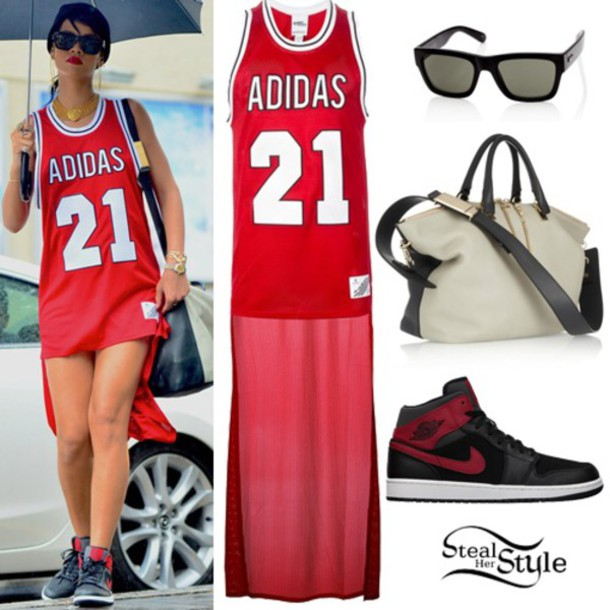 21619ba99ad rihanna, red dress, jersey, adidas originals, shades, style - Wheretoget