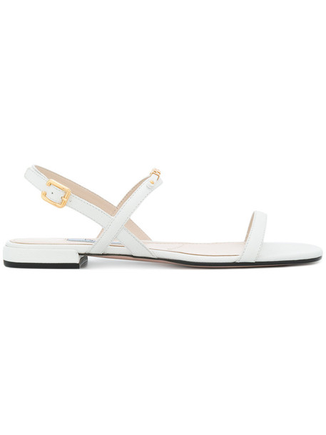 Prada women sandals leather white shoes
