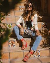 shoes,tumbr,sandals,sandal heels,red sandals,denim,jeans,blue jeans,top,black top,jacket,white jacket,sunglasses,spring outfits,bag,black bag