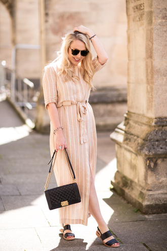 british fashion blog - mediamarmalade blogger shoes dress sunglasses tumblr nude dress stripes striped dress sandals black sandals flat sandals bag