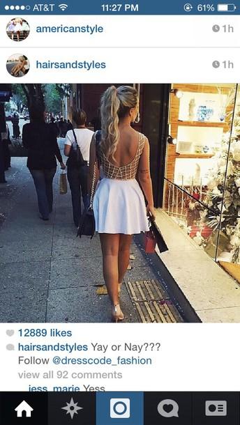 dress gold and white gold white short white dress short dress cool back summer dress