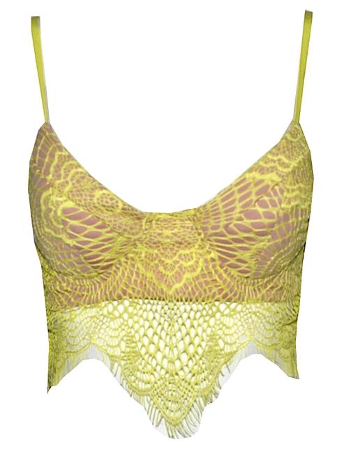 Kendall Jenner Eyelash Sheer Lace Crop Asymmetric Top - More Colors