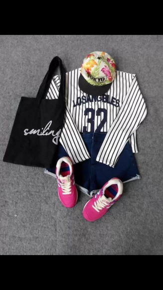 bag shoes white tote bag fashion style black tokyo fresh hat stripes jeans shorts cute shoes cute summer shoes floral tokyo fashion high top sneakers top sneakers smile