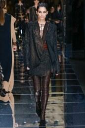 skirt,top,boots,sara sampaio,model,runway,Paris Fashion Week 2017,fashion week 2017,balmain