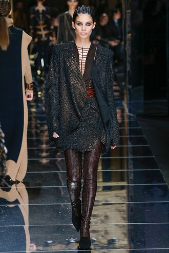 skirt top boots sara sampaio model runway paris fashion week 2017 fashion week 2017 balmain
