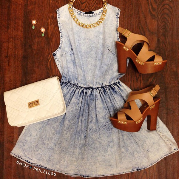 denim dress acid wash dress wallet necklace denim short dress