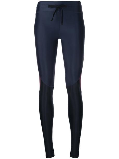 leggings women spandex drawstring blue pants