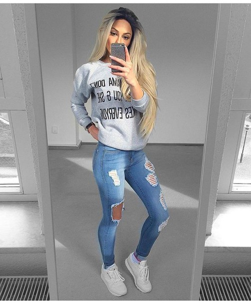 9496f49f4a jeans ripped jeans skinny jeans high waisted jeans blue jeans light blue  jeans outfit outfit idea