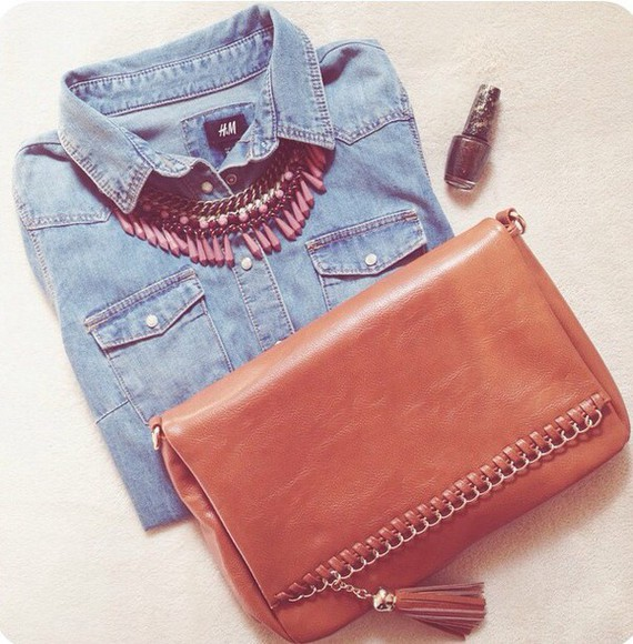 bag girly cute leather bag camel camel bag brown shirt denim shirt denim jewels necklace cute jewels statement necklace