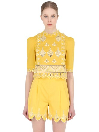 top embroidered cotton yellow