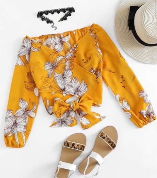 blouse girly crop tops crop cropped floral flowers