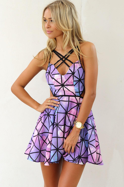 Purple Party Dress - Purple Prism Print Dress with   UsTrendy