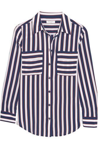 shirt silk blue top