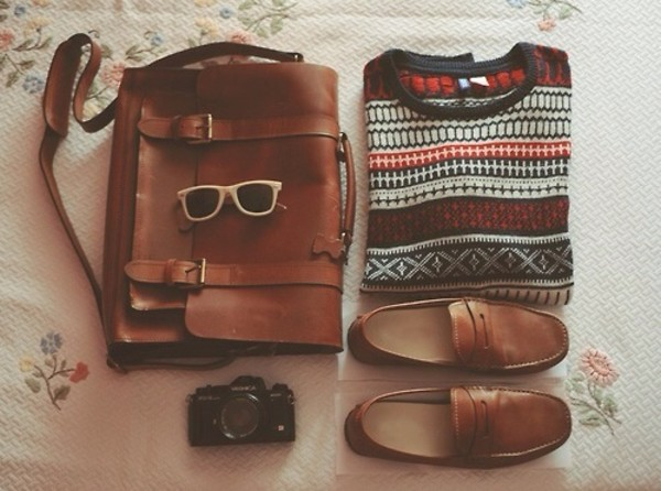bag shoes sunglasses back to school winter sweater leather bag loafers hipster menswear sweater autumn shoes sweater indie hipster grunge fall outfits menswear unisex mens slip ons mens messenger bag messenger leather bag leather bags for men leather messenger autumn/winter sholder bag camel brown bag backpack school bag college boyish satchel bag