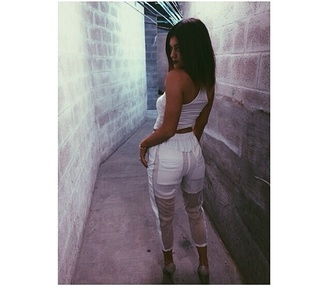 kylie jenner white pants pants see through see through pants