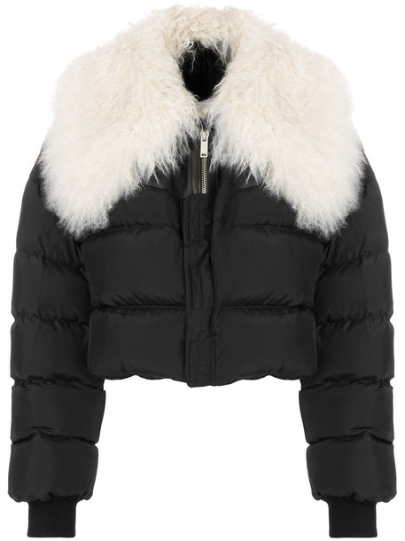 jacket cropped fur women quilted cotton black silk