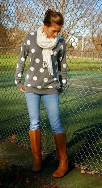 shirt sweater sweater/sweatshirt polka dots polka dot sweater polka dot skirt shoes sweater weather grey sweater printed sweater winter sweater sweatershirt knitted sweater gray polka dot sweater fall outfits fall sweater winter outfits