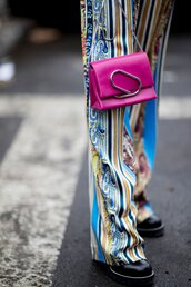 bag,nyfw 2017,fashion week 2017,fashion week,streetstyle,pink bag,chain bag,pants,stripes,striped pants,boots,black boots