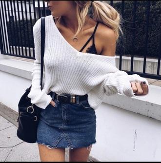 blouse white fashion skirt jeans fashin short underwear black