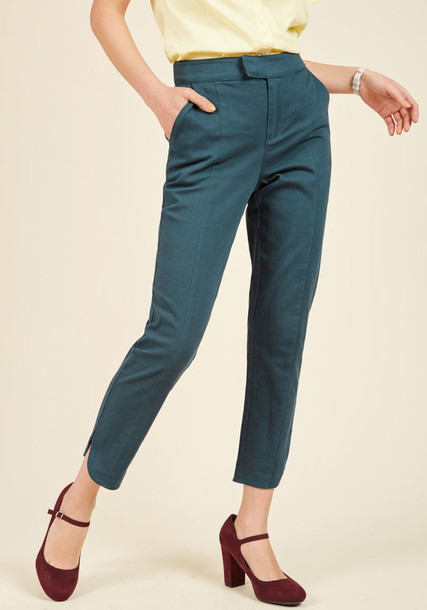 MCB1074 cropped classic perfect teal blue pants