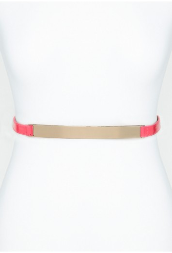 Yodelia Leather Belt with Gold Plate - accessories - belts - missguided