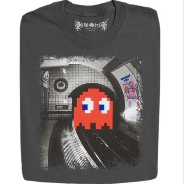 T Shirt Pacman Black White Grey Punk Grunge T Shirt