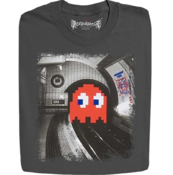 t-shirt pacman black white grey punk grunge t-shirt grunge subway train tracks