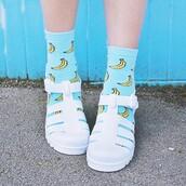 underwear,socks,banana print,crew socks,jellies,white,sandals,girl,tumblr,fashion,cute socks,food,light blue,shoes,jelly sandal,jellyshoes