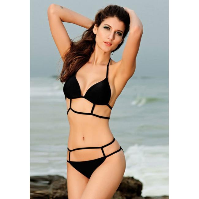 Wommen's summer neck beach strand empty triangle bandage mall chest gathers bikini online