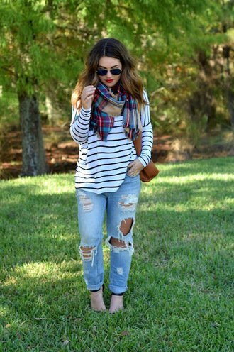 madison lane blogger tartan scarf striped top ripped jeans tobi urban outfitters asos madewell