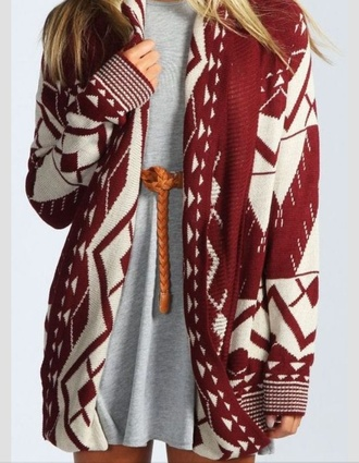 cardigan wooly jumper burgundy white cream jacket winter sweater red dress red sweater red casual