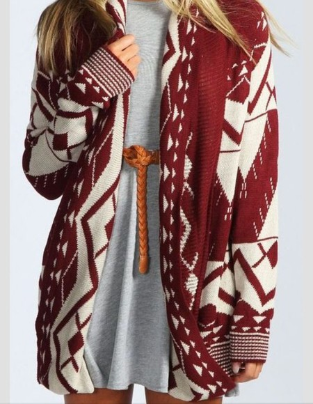 jacket red white red sweater cardigan wooly jumper burgundy cream winter sweater red dress casual