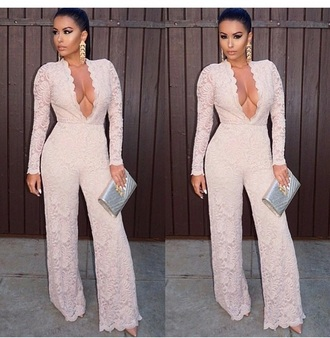 jumpsuit earrings accessories romper clutch bag purse bodysuit lace up nude high heels shoes high heels long sleeves outfit