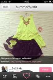 tank top,outfit,yellow,lime,green,top,peplum,net,lace,leather,black,shirt,shorts,jewels