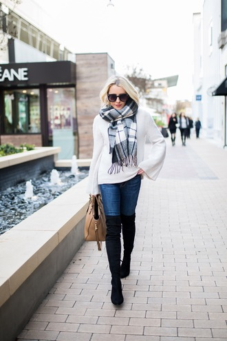 gbo fashion blogger sweater jeans shoes scarf bag jewels sunglasses winter outfits handbag boots thigh high boots