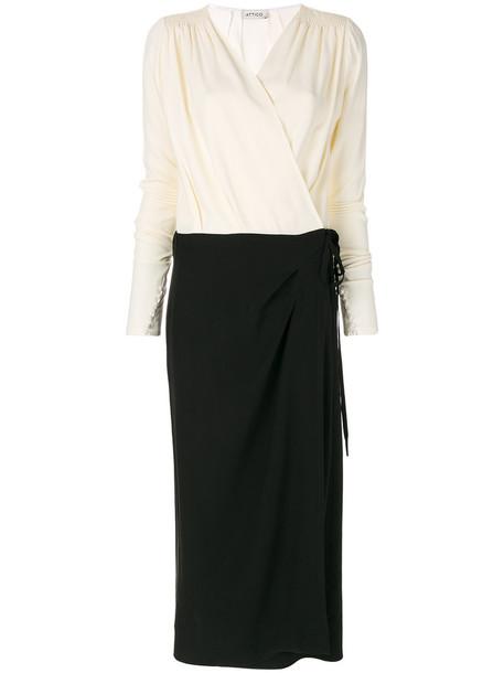 Attico dress wrap dress long women spandex black