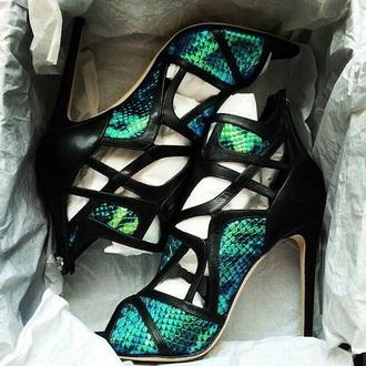 shoes green heels teal blue snake print