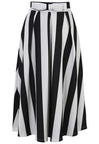 skirt bowknot stripes a-line midi skirt
