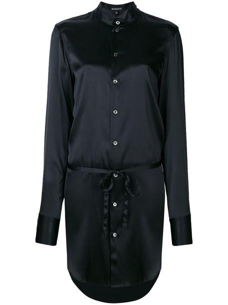 ANN DEMEULEMEESTER dress shirt dress women spandex black silk