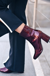 shoes,tumblr,burgundy,burgundy shoes,ankle boots,high heels boots,patent shoes