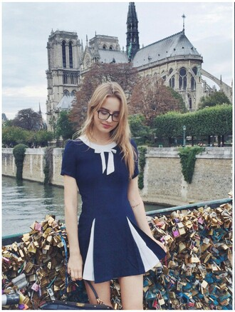 dress classisinternal navy navy dress white bow blue dress sonya esman sonyaesman school girl