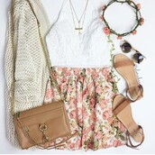 top,white,tumblr,cute,pretty,love,lace bra,bralette,tumblr outfit,skirt,style,fashion,bag,cardigan,hair accessory,jewels,shirt,sunglasses,shoes
